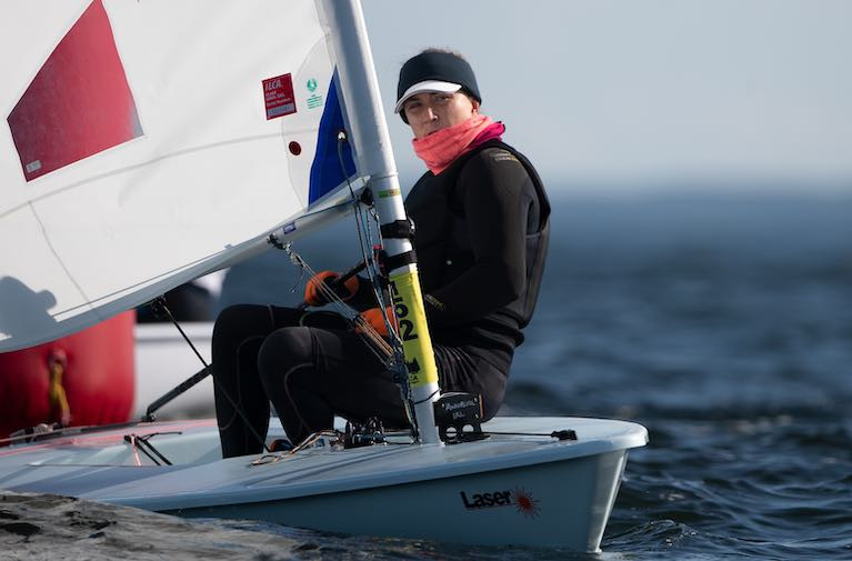 The National Yacht Club's Annalise Murphy in today's light winds on Gdansk Bay, Poland