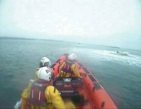 Portaferry RNLI launching to reports of dory spinning out of control on Saturday morning