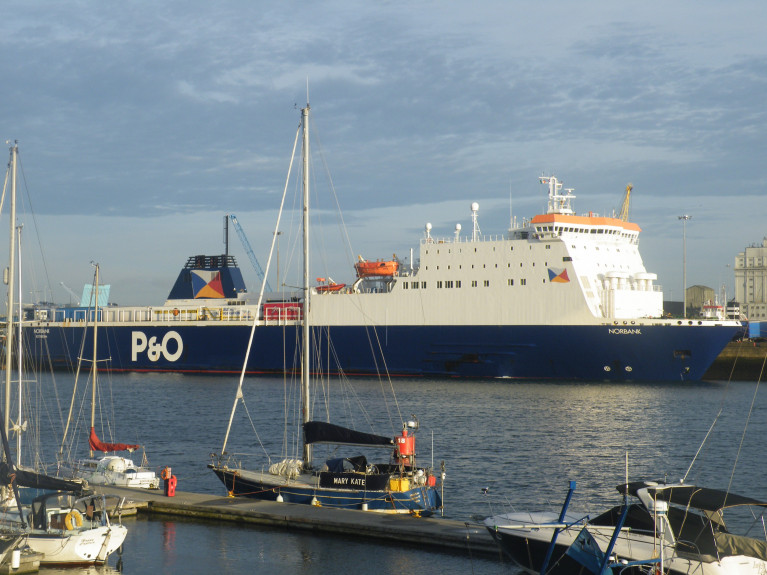 An AFLOAT file photo of a P&O ferry (Norbank) is docked in Dublin Port is carrying food and medicine. Afloat adds the ropax ferry is a twin of Norbay which is docked in Liverpool Docks.