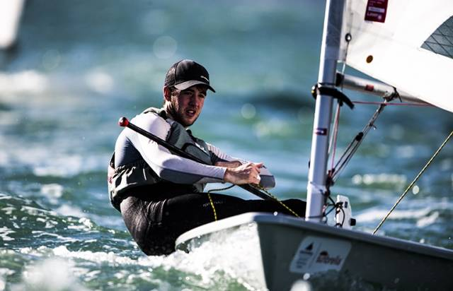 Finn Lynch competing at the Miami Sailing World Cup this week