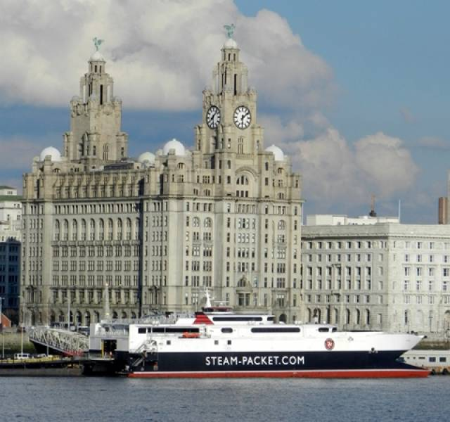 IOM Steam Packet's fastferry craft Manannan alongside Liverpool landing stage which is to have works costing £540,000. The Manannan also operates the seasonal Douglas-Dublin route.
