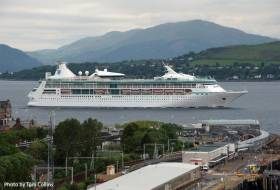 Work starts on a £19m cruise berthing and visitor centre at Greenock (one of two Clydeport terminals) on the Firth of Clyde in south-west Scotland. AFLOAT adds above is RCI's Vision of the Seas passing Gourock Pierhead on the way to Greenock located further upriver.