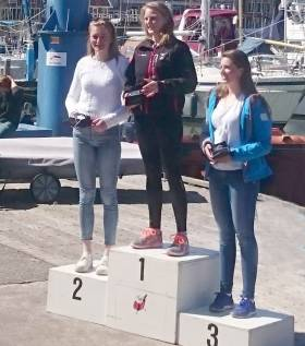 Aoife Hopkins (centre) was overall winner of the women's Laser Radial Europa Cup fleet last weekend  in Holland. The Howth youngster was best under–19 too. It wasn't the only Dutch performance from the Irish youths either, Liam Glynn was third in the under–19 boys fleet.