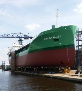 On the stocks: Arklow Valley, a 5150dwat Bodewes Eco-Trader which is the third cargoship to bear this name for the company. The 90m newbuild was launched this morning at Royal Bodewes yard, Hoogezand in the Netherlands