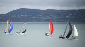 Dear Prudence (black spinnaker) Barry Lyons & John Given of the RIYC leads ICRA Boat of the Year Joker II skippered by John Maybury (red spinnaker). Joker II is ahead of Royal Irish club mates Beneteau 34.7 Black Velvet (3471) Leslie Parnell and J109 sisterships Indecision (Declan Hayes, Ronan Moloney, & Patrick Halpenny) and Jump the Gun (John M. Kelly & Michael Monaghan) into a Scotsman's Bay mark in Sunday's DBSC Spring Chicken Series race