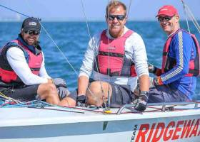 Team Ridgeway - Peter Kennedy (right), sailing with Stephen Kane (centre) and Hammy Baker from Strangford Lough are the 2018 SB20 National Champions