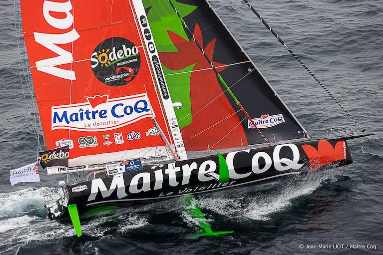 Yannick Bestaven's Maitre Coq - just 45 miles behind damaged Vendee Globe leader