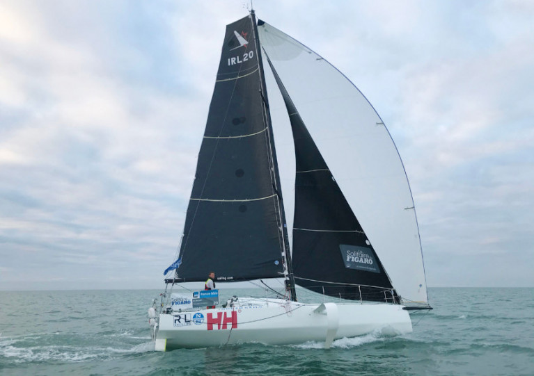 Kenny Rumball at the helm of the RL Sailing Figaro 3, with its North Sails 3Di set-up