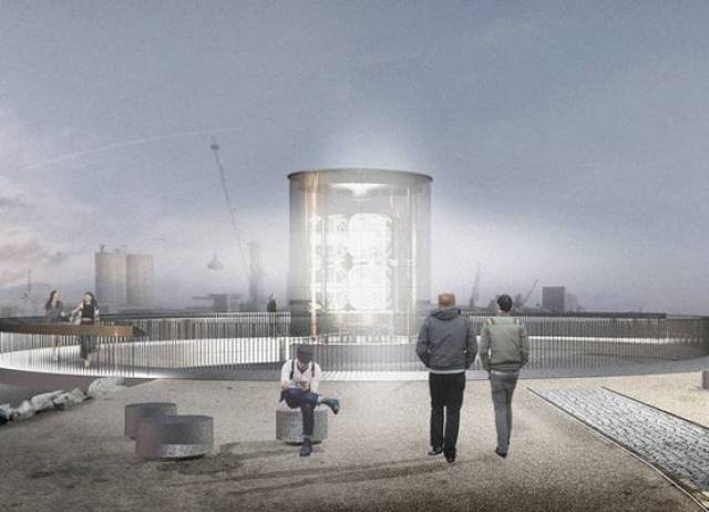 An artist's impression of Hall McKnight's winning design for the Mew Island Optic on Belfast's waterfront