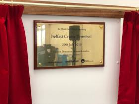 The plaque to mark the opening of the new Belfast Cruise Terminal which took place yesterday