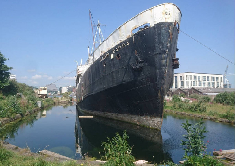 File image of Naomh Éanna at the heritage graving docks in Grand Canal Basin