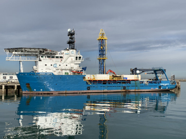 Drilling-rig ship Geoquip Saentis run by a Swiss based offshore geo-technical solutions company, has berthed in Dun Laoghaire Harbour. The 3,404 gross tonnage vessel is to be used for work at the Dundalk Bay Wind Farm project off Co. Louth. Note above the bow and bridge is a heli-pad.