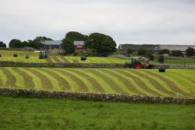 Silage baling on an Irish farm