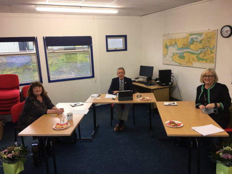 The south Wales Port of Milford Haven's scholarship panel met to virtually interview candidates. Pictured (l-r) are Maxine Thomas from Pembrokeshire College, Chairman of the Port Chris Martin and Headteacher of Haverfordwest High VC School Jane Harries.