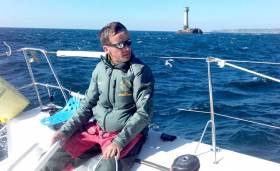 Howth skipper Conor Fogerty off Lands End and on his way to the Plymouth start line of the OSTAR race across the Atlantic that begins on Monday
