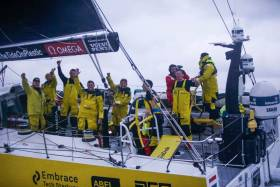 Emotion on the faces of the Leg 10 winning crew of Team Brunel
