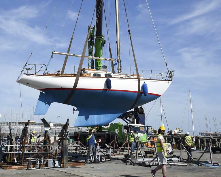 Living history. Michael Creedon's classc 54-year-old S&S 36 Sarnia being lifted-in at the National YC last weekend