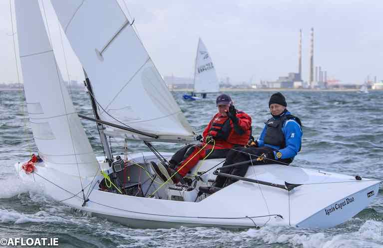 "David Mulvin and Ronan Beirne sailing Flying Fifteen 4068, ""Ignis Caput II were the winners of tonight's DBSC race"