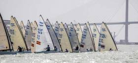Oisin McClelland (IRL 9) in the first race of the Finn Europeans Championships in Cadiz