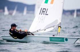 The National Yacht Club's Finn Lynch is just two points off the overall lead of the Laser fleet