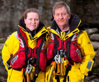 Sinead Myler — with her father Jimmy — who completed her first callout with Arklow RNLI on Wednesday