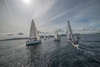Mixed cruisers come to the line for the start of the Mullaghmore Cruisers Regatta