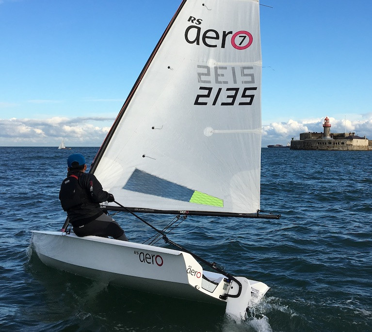 RS Aero dinghy sailing at Dun Laoghaire Harbour