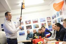 Demonstration of a lifeboat Search & Rescue Radar Transponder (SART) to students at BIM National Fisheries College, Greencastle, Co Donegal.