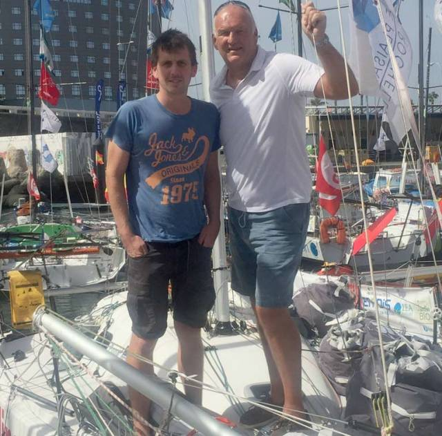 Mark Mansfield (right) onboard Ireland's Mini–Transat entry with solo skipper Tom Dolan in Las Palmas