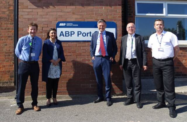 At the Port of Barrow, Associated British Ports (ABP) Divisional Port Manager – North West, Carl Bevan (far left) and his team with the UK Shipping Minister Nusrat Ghani MP (second from the left) and John Woodcock MP (centre)