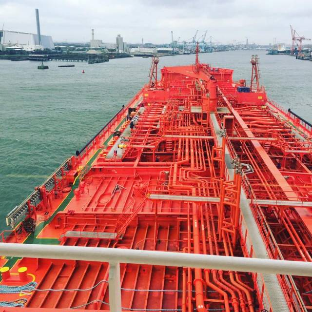 A View from the Bridge: This great on board view clearly demonstrates the complexity of a tanker's pipe network as the vessel headed up the channel fairway within Dublin Port last week.