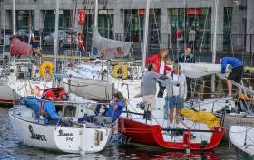 ICRA Championship competitors rafted up in Galway Docks