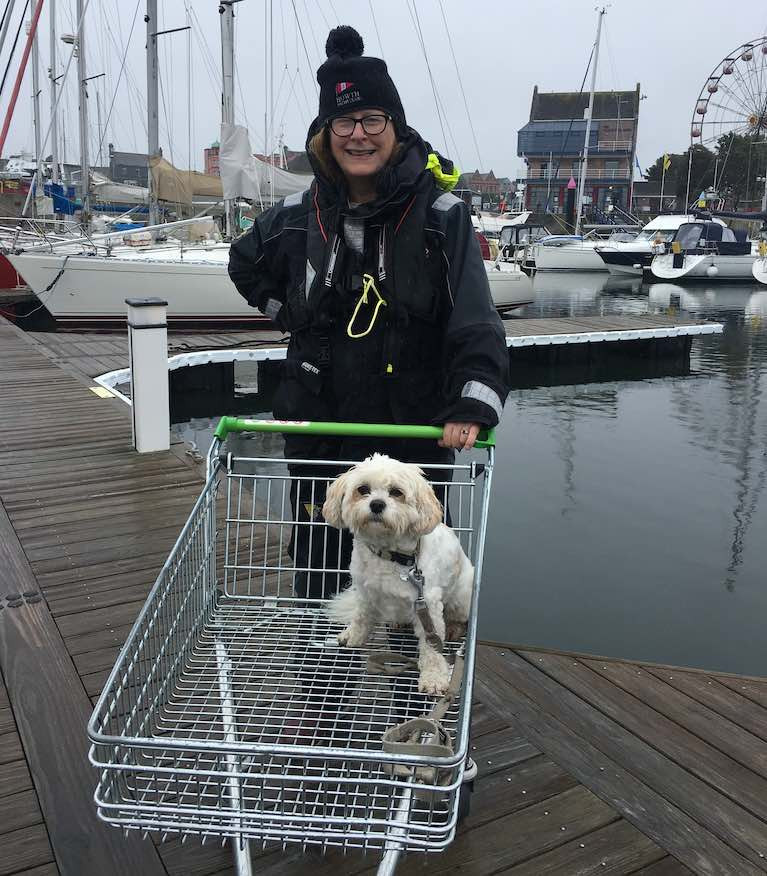 Darina Brown from the yacht Rhapsody and her accompanying sea dog Brody was on the Cruising Association of Ireland cruise from Dublin to Belfast