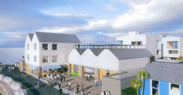 CGI image of the Bartra development at Bulloch Harbour, Dalkey on the coast of south Dublin Bay