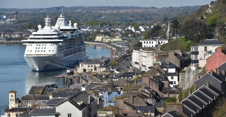 MS Serenade of the Seas berthed in Cobh last year. The town in Cork Harbour was due to host 105 liner visits this year and a further 110 liners were booked to tie up there in 2021.