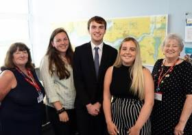 Last year's scholarship winners Jannah Kehoe, Matthew Dawes and Isobel Coombe with members of the panel Maxine Thomas and Pat James.