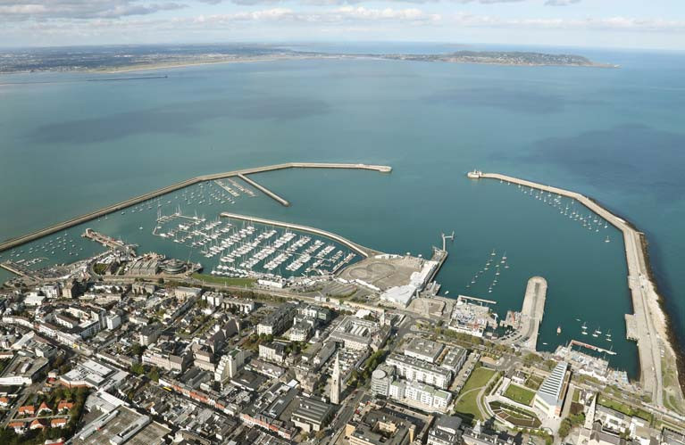 A town and its harbour. From a height, Dun Laoghaire and its harbour may look to be dynamically inter-twined. But at sea level, things can be very different.