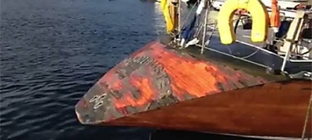 The poor condition of Moonduster's varnished stern. The full video on facebook (below) reveals the current state of the 1988 Round Ireland record holder