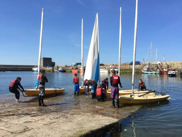 The Irish Youth Sailing Club launching in better times from Dun Laoghaire's West Pier