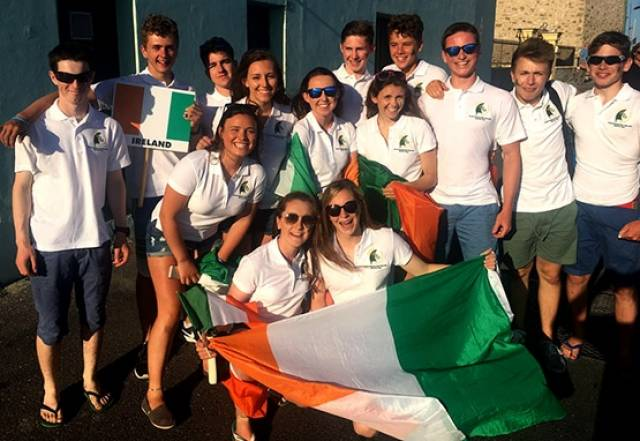 14 sailors are representing Ireland at the event, Cliodhna Ni Shuilleabhain and Niamh Doran (KYC/CSC), Gemma and Cara McDowell (MYC), Kate Lyttle and Niamh Henry (RSGYC), Geoff Power and James McCann(WHSC / RCYC), Shane McLoughlin and Patrick Whyte (HYC / MSC), Ronan Cournane and Ben Walsh (KYC / SSC) and Douglas Elmes and Colin O'Sullivan (HYC), supported by coaches Ross Killian and Graeme Grant.