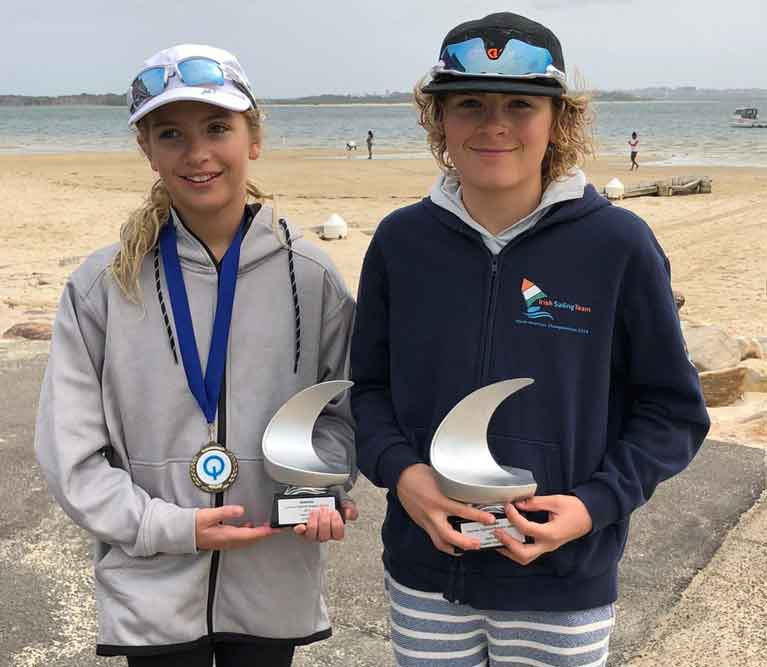Howth Yacht Club's Sienna and Rocco Wright with their trophies in Sydney