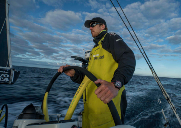 Peter Burling helming Team Brunel on the approach to New Zealand during the 2017-18 edition of The Ocean Race