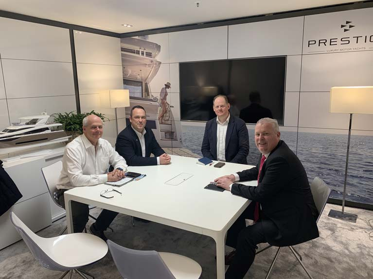 IMF at Boot - Prestige Yachts of France facilitated a meeting of the Irish Marine Federation at its Boot Dusseldorf stand. (From Left) Treasurer Ian O'Meara of Viking Marine, James Kirwan of BJ Marine, Chairman Paal Janson and Secretary Gerry Salmon of MGM Boats