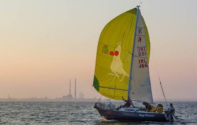 Sailing in Dublin club yachts include a Ruffian keelboat