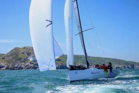 Cool performer. Niall Dowling's Ker 43 Baraka GP at Wicklow Head at the start of the Volvo Round Ireland Race 2018. Despite being well down the overall rankings off the coast of Mayo, a tactically brilliant second half saw her emerge as line honours victor and overall winner