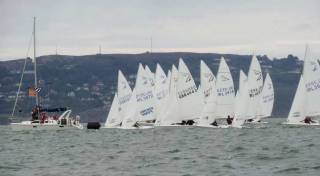 A race start at the Flying Fifteen Championships staged by the Royal St George Yacht Club