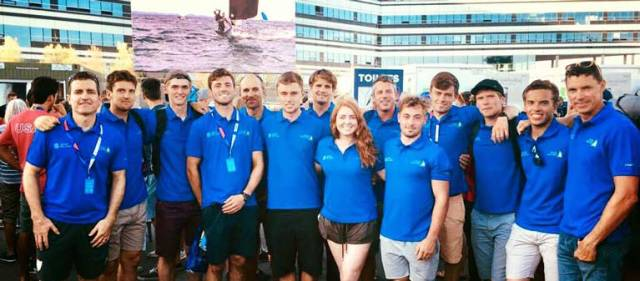 All in blue – Team IRL at the opening ceremony of the World Sailing Championships in Aarhus, Denmark