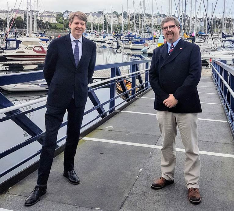 Robin Walker Minister of State (left) with Harbour Master Kevin Baird