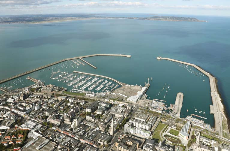 Splendid isolation: A harbour full of boats and an empty Dublin Bay. Dun Laoghaire Harbour is Ireland's biggest boating centre. Lift in of keelboats for the summer season begins on April 1