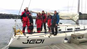 Jedi and her crew in Kinsale yesterday as they prepare to sail on round Ireland with a new breeze